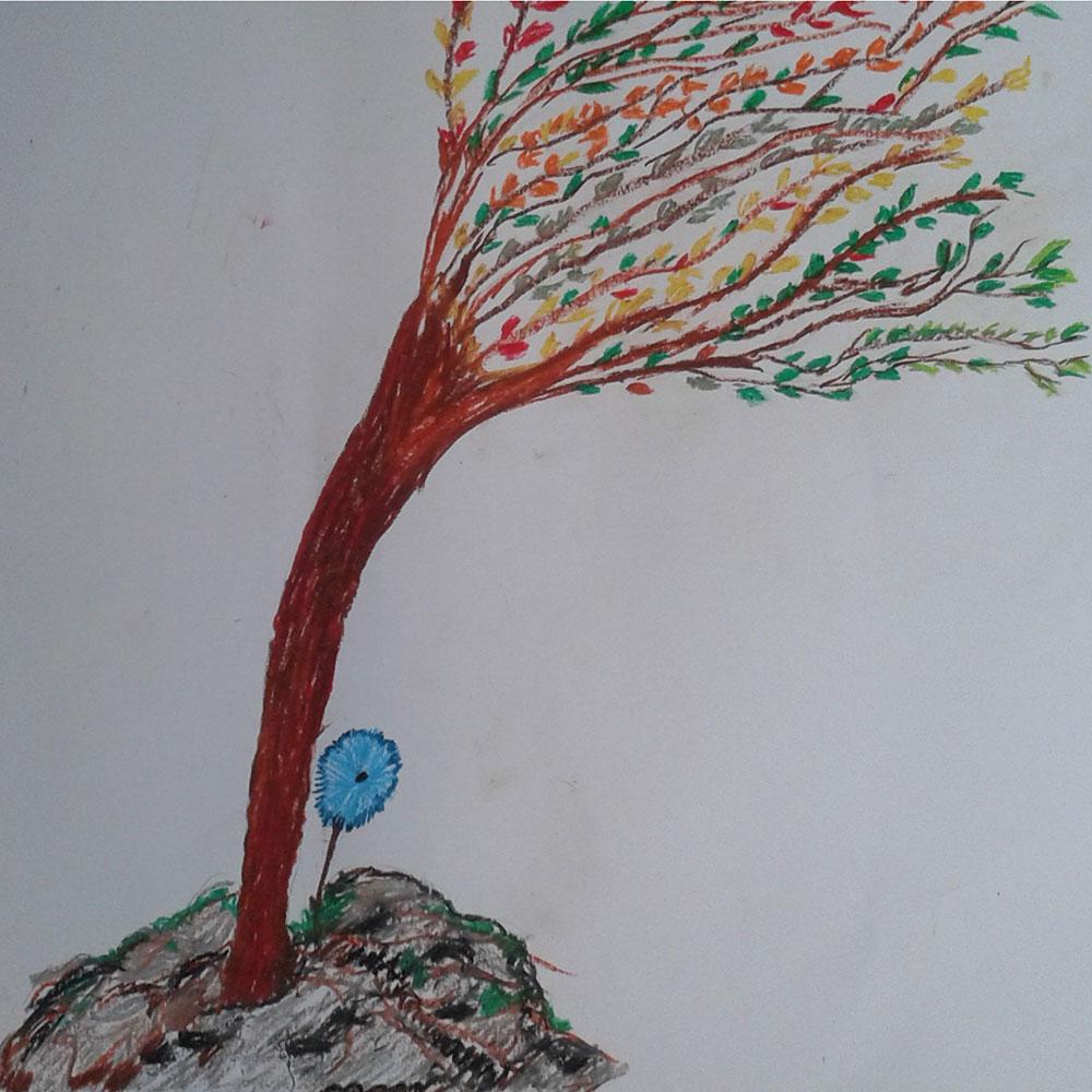 Disegno di Arteterapia, albero ventoso